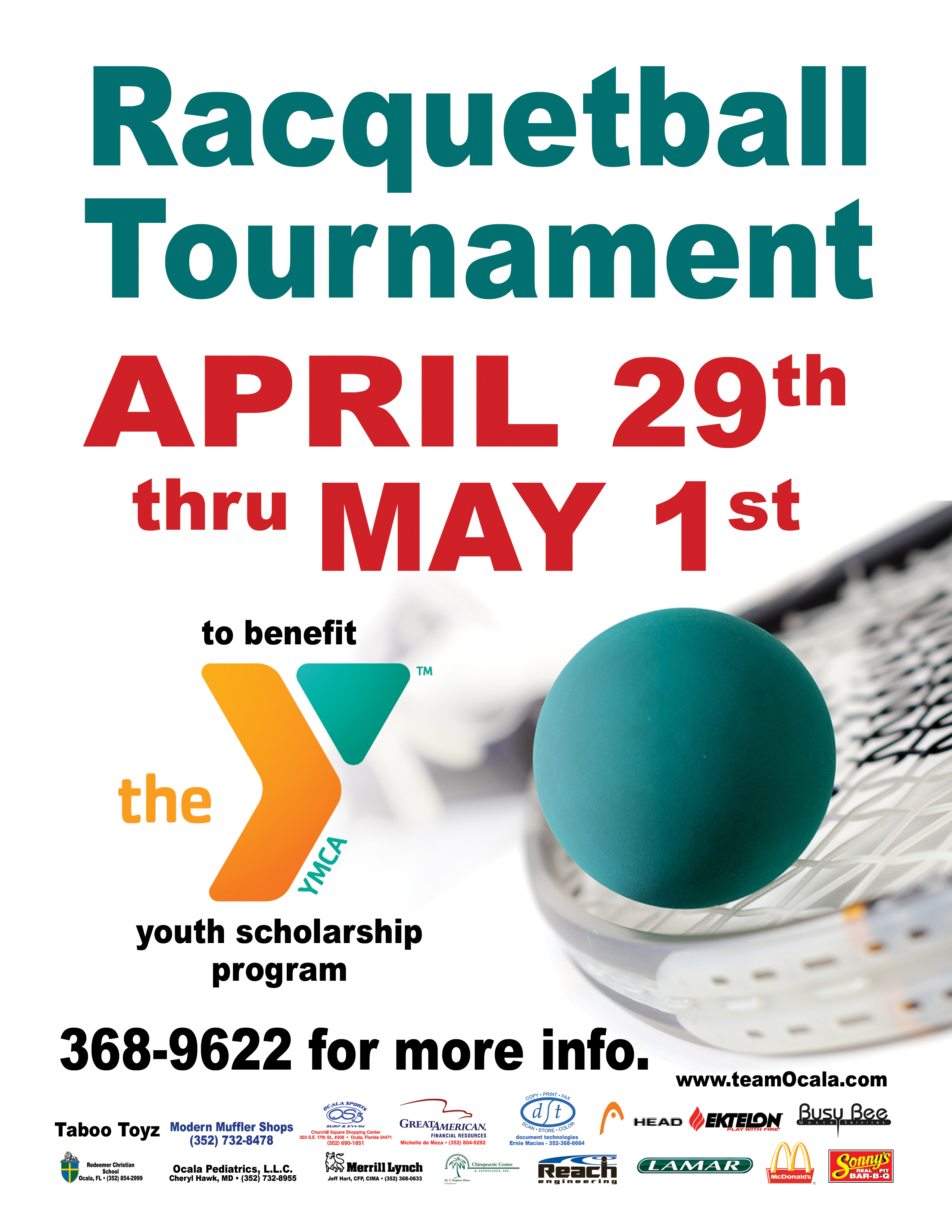 4th Annual Youth Scholarship Racquetball Tournament - Start Times below